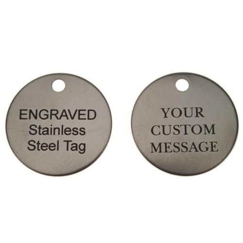 Stainless Steel Round Key Tag 1-1/4 Inch Diameter - CUSTOM ENGRAVED