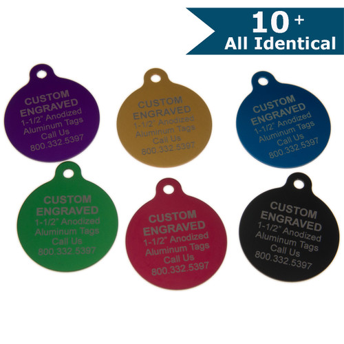 Large Round Aluminum Tag with Ear 1-1/2 Inch -CUSTOM ENGRAVED - ALL IDENTICAL