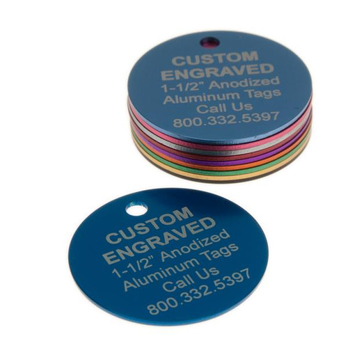 Large Round Aluminum Tag 1-1/2 Inch - CUSTOM ENGRAVED