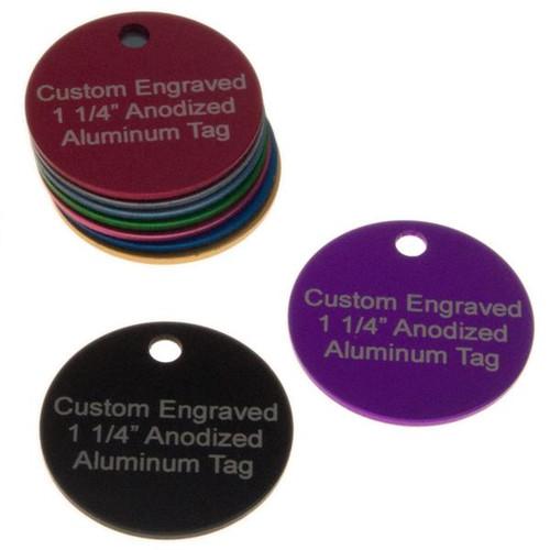 1-1/4 Inch Round Aluminum Tag CUSTOM ENGRAVED