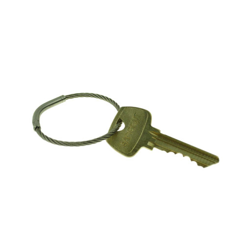 Flexible Stainless Steel Cable Tamper Proof Key Ring 1-5/8 Inch Diameter. Type 303SE stainless steel construction for durability. Each keyring has a unique serial number. Permanent closure makes the ring tamper proof. Will fit through most standard key holes. Key management and security