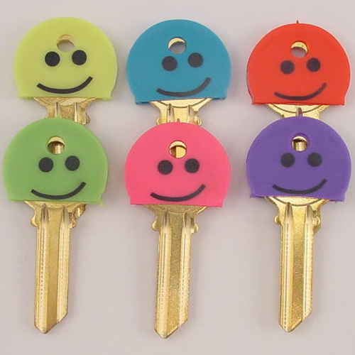 Happy Face Key Covers/Cap 6 Pack