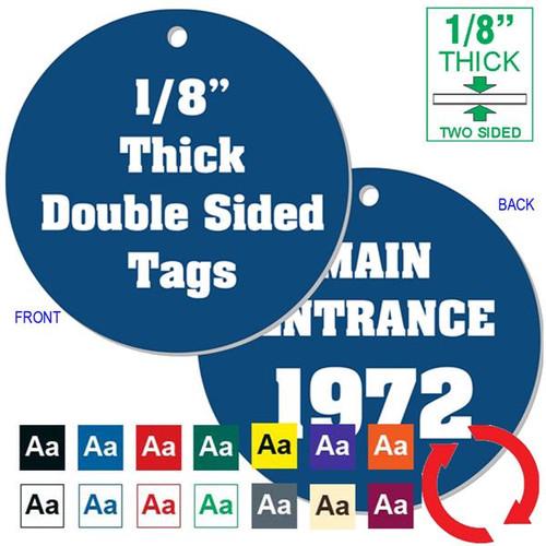 """1/8"""" Thick - 3"""" Round Plastic Key Tag CUSTOM ENGRAVED"""