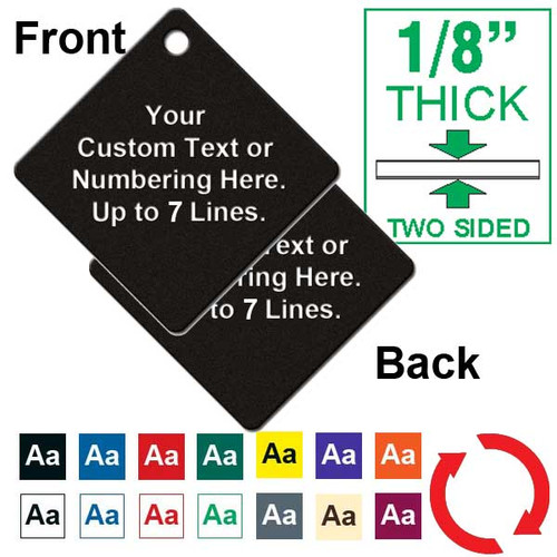 1/8 Inch Thick - 2 Inch Diamond Plastic Tag Custom Engraved