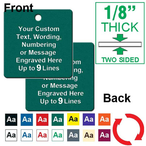 1/8 Inch Thick - 2 Inch Square Plastic Tag Custom Engraved