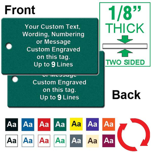 1/8 Inch Thick - 1.75 Inch x 3 Inch Rectangle Plastic Tag Custom Engraved