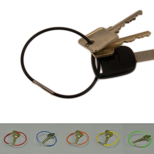 2.5 Inch Diameter PVC Coated Crimp Close Permanent Cable Key Ring