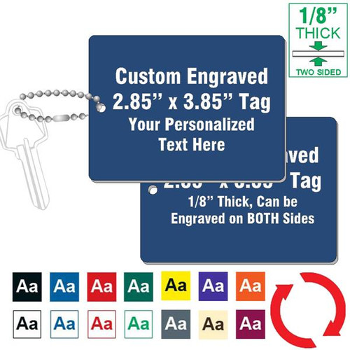 "1/8"" Thick - 3"" x 4"" Large Rectangle Key Tag CUSTOM ENGRAVED"