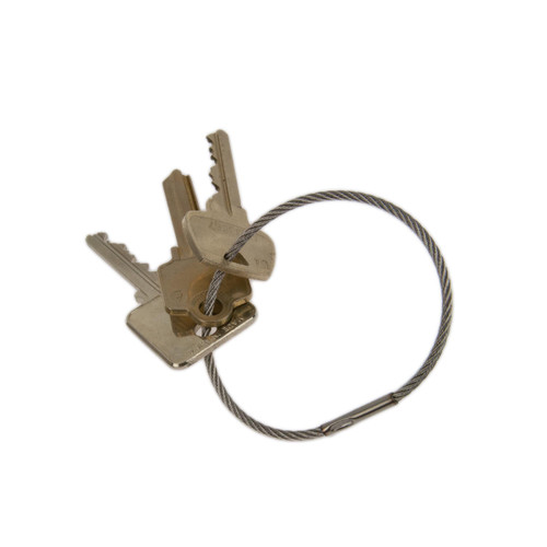 2.5 Inch Diameter Stainless Steel Crimp Close Permanent Cable Key Ring