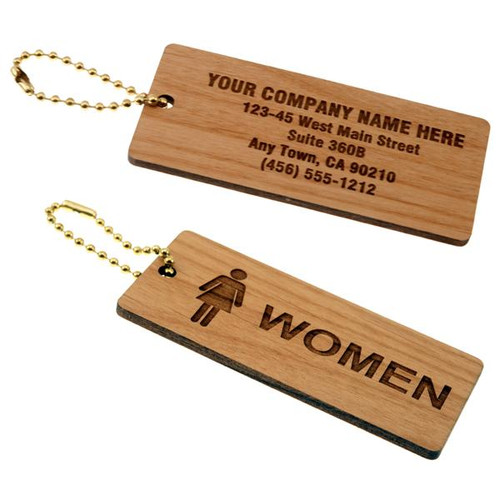 Solid Wood Medium Rectangle Women's Restroom Keytag - with Custom Back  - 1-3/4 Inch x 4 Inch. Durable wooden bathroom tag with  a brass beaded chain. Front and back
