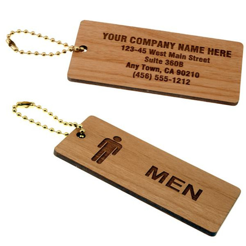 Solid Wood Medium Rectangle Men's Restroom Keytag-with Custom Back  - 1-3/4 Inch x 4 Inch
