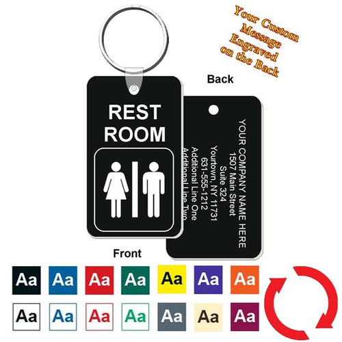 Custom Back Restroom / Bathroom Key Tag - Engraved Mini 1-3/4 Inch x 3 Inch. Heavy duty plastic black with white lettering. Pic with nickel plated split key ring and plastic fold over tab connector. Front back and color options.