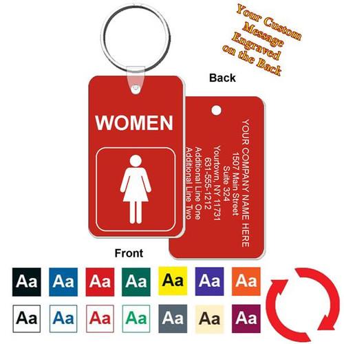 Custom Back Women's Restroom Key Tag - Engraved Mini 1-3/4 Inch x 3 Inch