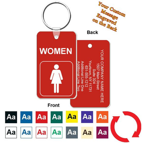 Custom Back Women's Restroom Key Tag - Engraved Mini 1-3/4 Inch x 3 Inch. Heavy duty plastic red with white lettering. Pic with nickel plated split key ring and plastic fold over tab connector. Front back and color options.