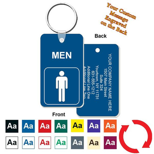 Custom Back Men's Restroom Key Tag - Engraved Mini 1-3/4 Inch x 3 Inch. Heavy duty plastic blue with white lettering. Pic with nickel plated split key ring and plastic fold over tab connector. Front back and color options.