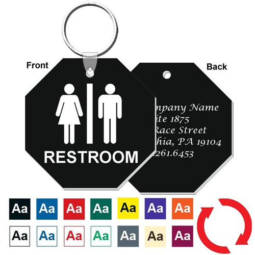 Custom Back 3 Inch Octagon Restroom Keytag. Heavy duty plastic black with white lettering. Pic with nickel plated split key ring and plastic fold over tab connector. Front back and color options.