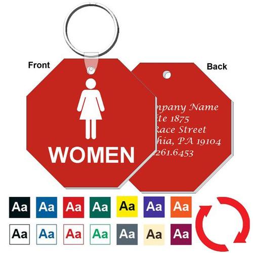 Custom Back 3 Inch Octagon Womens Restroom Keytag