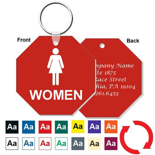 Custom Back 3 Inch Octagon Women's Restroom Keytag. Heavy duty plastic red with white lettering. Pic with nickel plated split key ring and plastic fold over tab connector. Front back and color options.