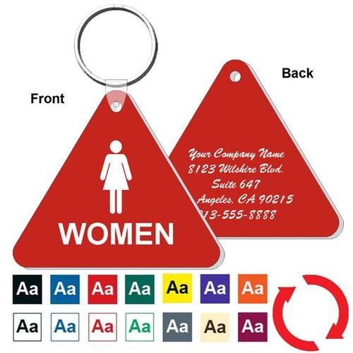 Custom Back Triangle Womens Restroom Keytag