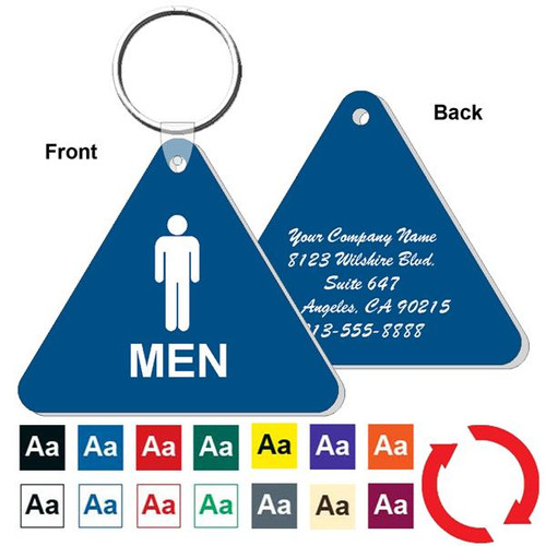 Custom Back Triangle Mens Restroom Keytag