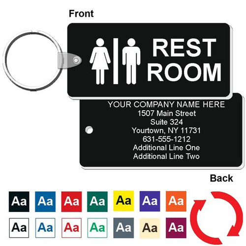 Custom Back Medium Rectangle Restroom Keytag - 1-3/4 Inch x 4 Inch. Heavy duty plastic blue with white lettering. Pic with nickel plated split key ring and plastic fold over tab connector. Front back and color options.