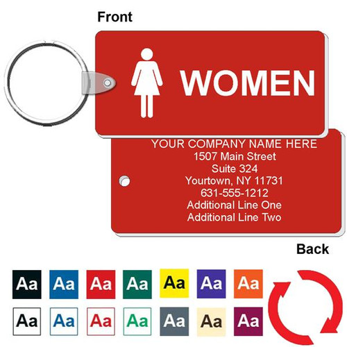 Custom Back Medium Rectangle Women's Restroom Keytag - 1-3/4 Inch x 4 Inch. Heavy duty plastic red with white lettering. Pic with nickel plated split key ring and plastic fold over tab connector. Front back and color options.