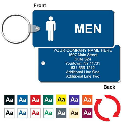 Custom Back Medium Rectangle Men's Restroom Keytag - 1-3/4 Inch x 4 Inch. Heavy duty plastic blue with white lettering. Pic with nickel plated split key ring and plastic fold over tab connector. Front back and color options.