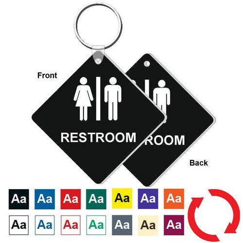 Double Sided 3 Inch Medium Diamond Restroom Key Tag. Heavy duty plastic black with white lettering. Pic with nickel plated split key ring and plastic fold over tab connector. Front back and color options.