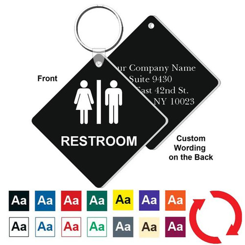 Custom Back 3 Inch Medium Diamond Restroom Key Tag