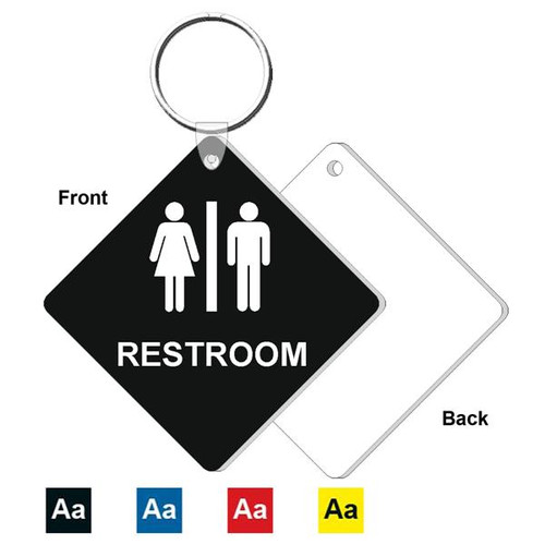 3 Inch Medium Diamond Restroom Key Tag. Heavy duty plastic black with white lettering. Pic with nickel plated split key ring and plastic fold over tab connector. Front back and color options.
