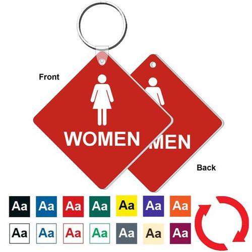 Double Sided 3 Inch Medium Diamond Womens Restroom Key Tag
