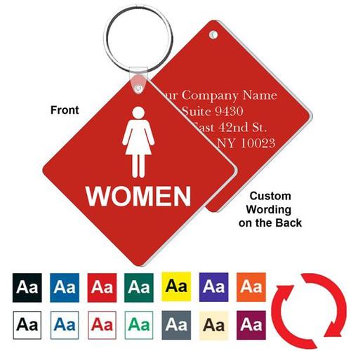 Custom Back 3 Inch Medium Diamond Womens Restroom Key Tag