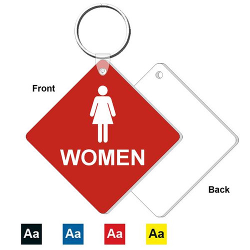 3 Inch Medium Diamond Women's Restroom Key Tag. Heavy duty plastic red with white lettering. Pic with nickel plated split key ring and plastic fold over tab connector. Front back and color options.