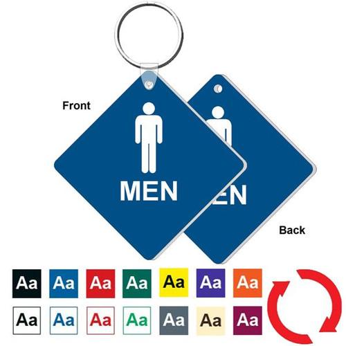 Double Sided 3 Inch Medium Diamond Mens Restroom Key Tag