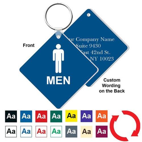 Custom Back 3 Inch Medium Diamond Mens Restroom Key Tag