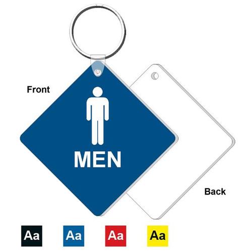 3 Inch Medium Diamond Mens Restroom Key Tag