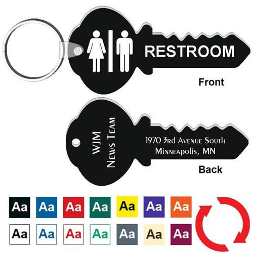 Custom Back 4 Inch Key Shape Restroom Keytag