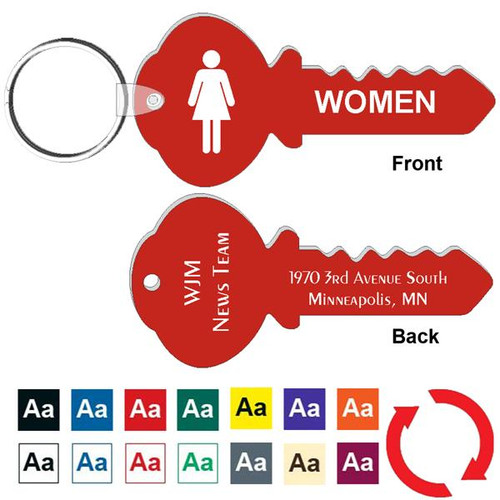 Custom Back 4 Inch Key Shape Women's Restroom Keytag. Heavy duty plastic red with white lettering. Pic with nickel plated split key ring and plastic fold over tab connector. Front back and color options.