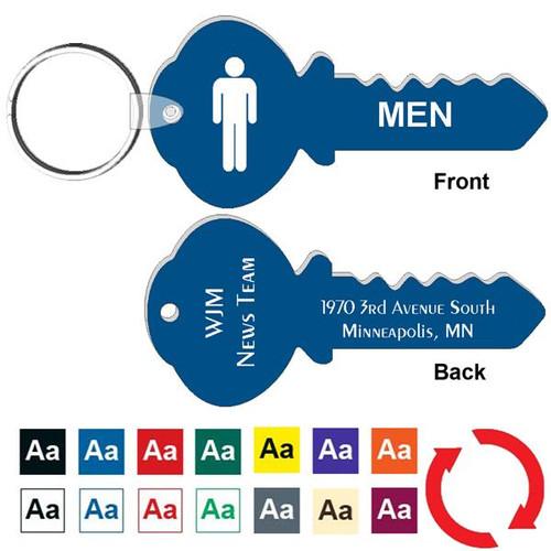Custom Back 4 Inch Key Shape Mens Restroom Keytag