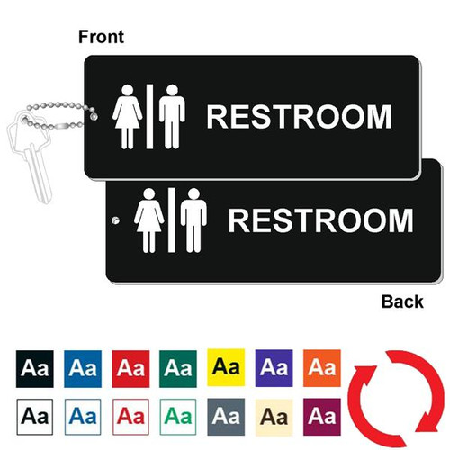 Double Sided Restroom Key Tag - 3 Inch x 8 Inch XL Rectangle