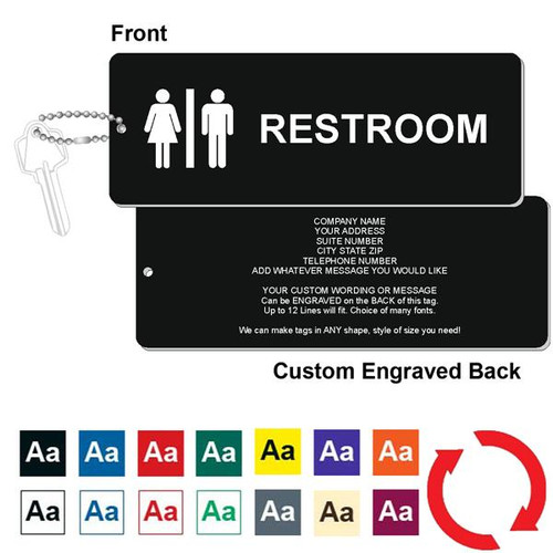 Custom Back Restroom Key Tag - 3 Inch x 8 Inch XL Rectangle. Heavy duty plastic black with white lettering. Pic with nickel plated beaded chain. Front back and color options.