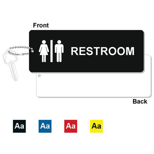 Restroom Key Tag - 3 Inch x 8 Inch XL Rectangle. Heavy duty plastic black with white lettering. Pic with nickel plated beaded chain. Front back and color options.
