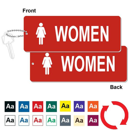 Double Sided Women's Restroom Key Tag - 3 Inch x 8 Inch XL Rectangle. Heavy duty plastic red with white lettering. Pic with nickel plated beaded chain. Front back and color options.
