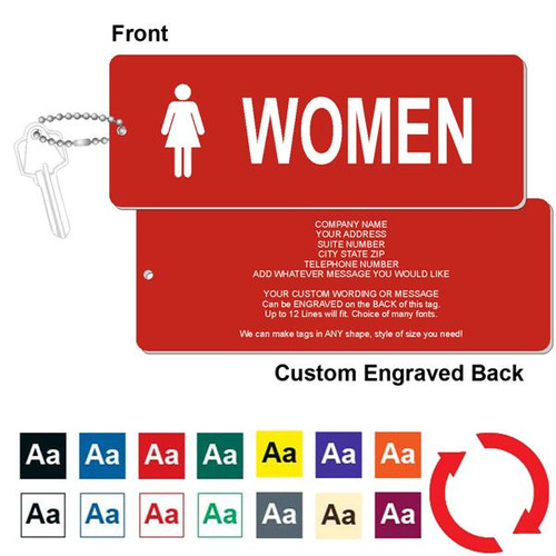 Custom Back Womens Restroom Key Tag - 3 Inch x 8 Inch XL Rectangle