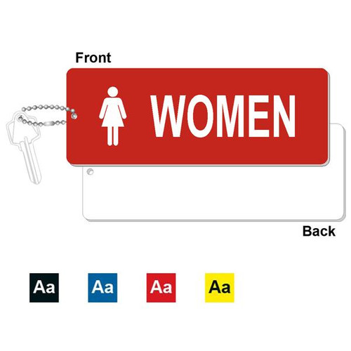 Women's Restroom Key Tag - 3 Inch x 8 Inch XL Rectangle. Heavy duty plastic red with white lettering. Pic with nickel plated beaded chain. Front back and color options.