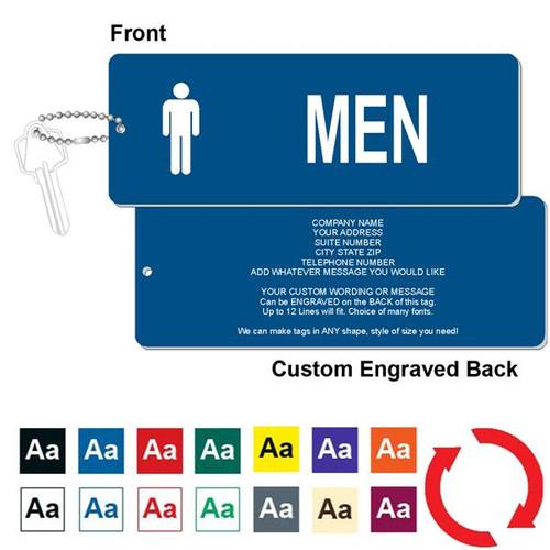 Custom Back Mens Restroom Key Tag - 3 Inch x 8 Inch XL Rectangle