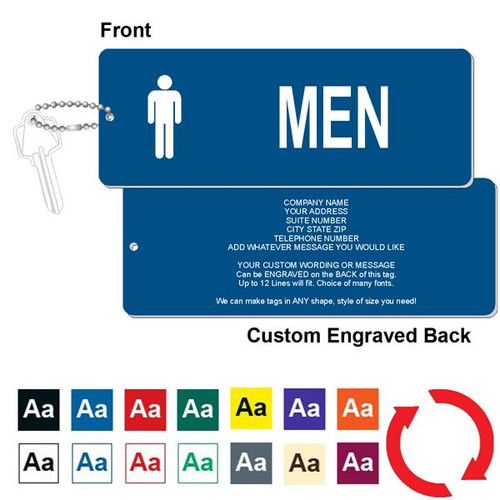 Custom Back Men's Restroom Key Tag - 3 Inch x 8 Inch XL Rectangle. Heavy duty plastic blue with white lettering. Pic with nickel plated beaded chain. Front back and color options