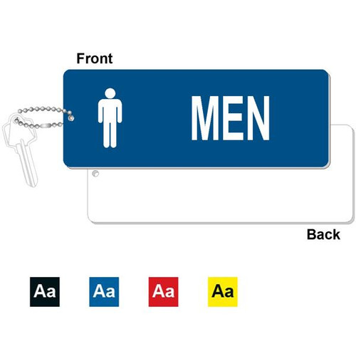 Mens Restroom Key Tag - 3 Inch x 8 Inch XL Rectangle