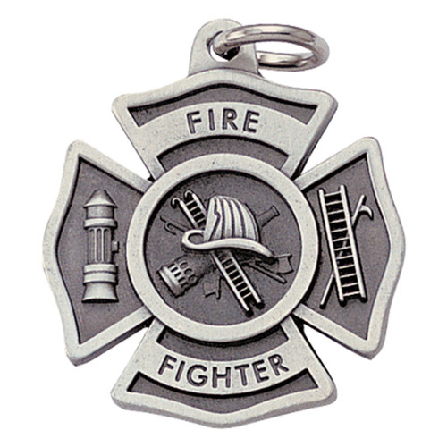 Pewter Firefighter Maltese Keyring with Chain Close up