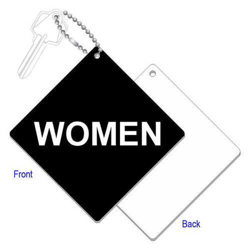 Womens Restroom Key Tag - 4 Inch Diamond